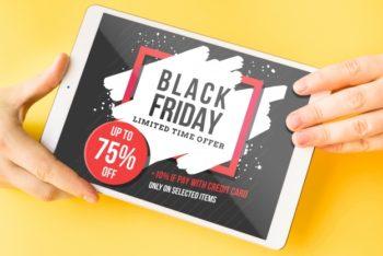 Free Black Friday Tablet Sale Mockup in PSD