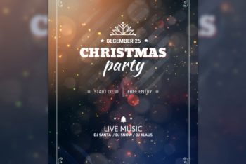 Free Bokeh Christmas Party Poster Mockup in PSD
