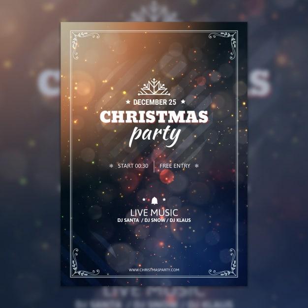 Bokeh Christmas Party Poster