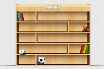 Free 3D Bookshelf Layout Scene Mockup in PSD