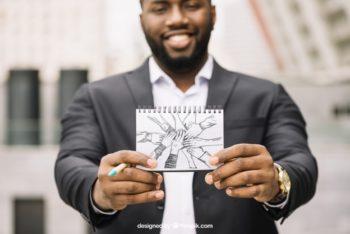 Free Businessman Plus Teamwork Concept Mockup