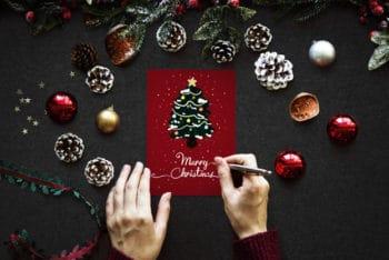 Free Handmade Artistic Christmas Card Mockup in PSD