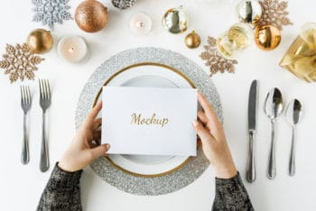Free Christmas Dining Table Decoration Mockup in PSD