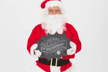 Free Christmas Sale Plus Santa Claus Mockup