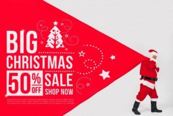 Free Big Christmas Sale Scene Mockup in PSD
