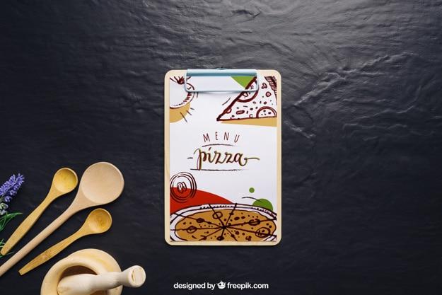 Clipboard Pizza Menu Scene
