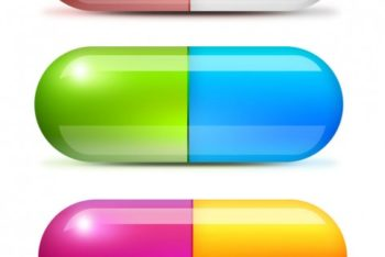 Free Colorful Medical Pills Mockup in PSD