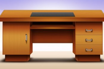 Free Office Table Illustration Mockup in PSD