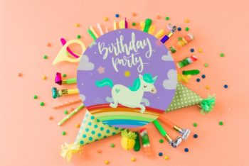 Free Awesome Colorful Birthday Party Concept Mockup