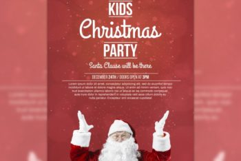 Free Creative Kids Christmas Party Mockup in PSD
