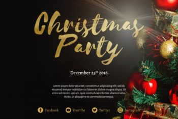 Free Merry Christmas Party Invitation Mockup in PSD
