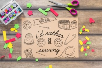 Free Creative Sewing DIY Kit Mockup in PSD