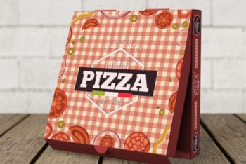 Free Creative Standing Pizza Box Mockup in PSD