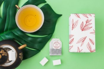 Free Creative Top View Tea Session Mockup in PSD