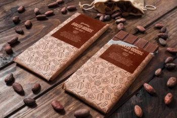 Free Cooking Chocolate Plus Almonds Mockup in PSD