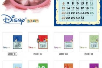Free Children Desk Calendar Mockup in PSD
