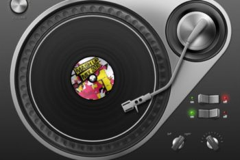 Free DJ Equipment Illustration Mockup in PSD