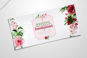 Free Elegant Rosy Wedding Invitation Mockup in PSD