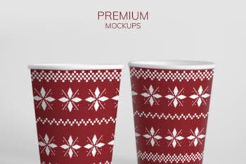 Free Christmas Party Paper Cup Mockup in PSD