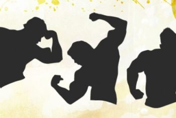 Free Male Muscle Fitness Silhouette Mockup in PSD