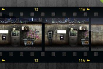 Free Old Filmstrip Scene Mockup in PSD