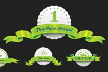 Free Award Ribbon Seals Mockup in PSD