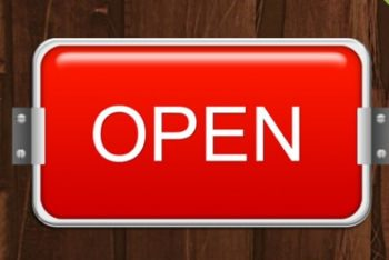 Free Digital Open Sign Mockup in PSD
