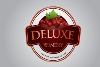 Free Winery Logo Design Mockup in PSD