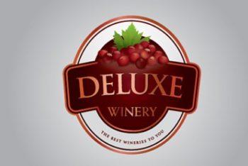 Free Winery Logo Design Mockup in PSD
