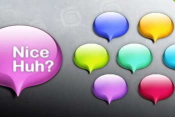 Free Glossy Colorful Speech Bubbles Mockup in PSD