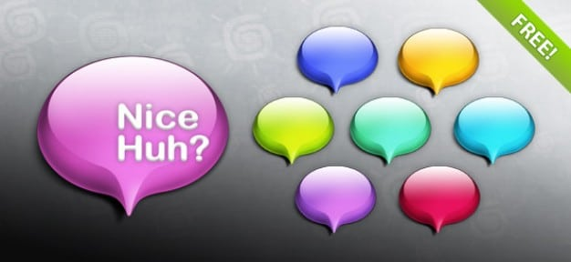 Glossy Colorful Speech Bubbles