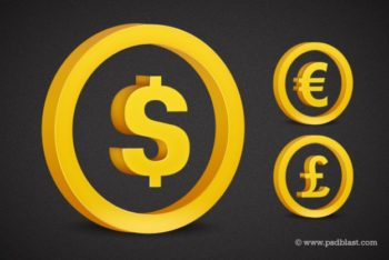 Free Gold Currency Symbols Mockup in PSD