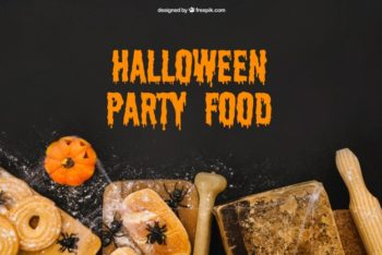 Free Halloween Party Food Mockup in PSD