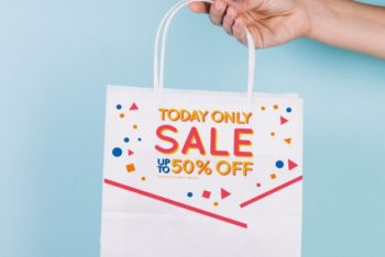 Free Shopping Bag Plus Sale Showcase Mockup in PSD