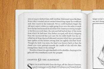 Free Open Hardback Book Scene Mockup in PSD