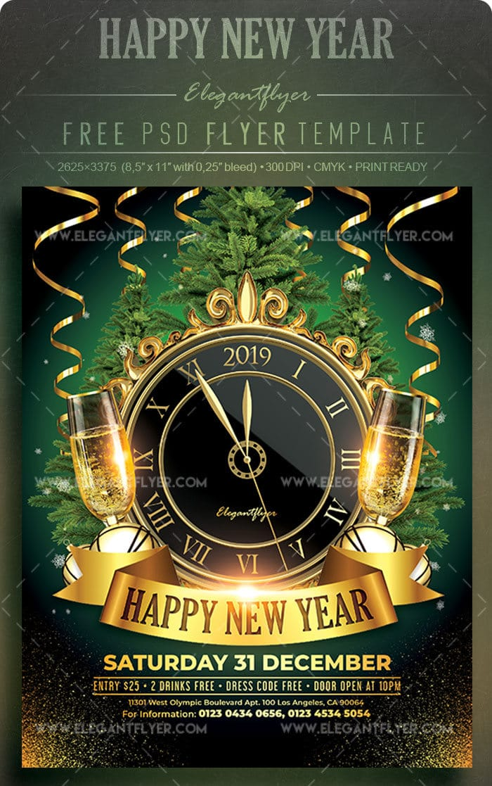 New Year Celebration Promotional Flyer Mockup Download  DesignHooks