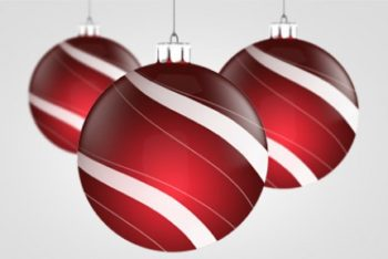 Free Merry Christmas Ball Decoration Mockup in PSD