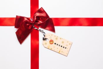 Free Christmas Gift Ribbon Plus Label Mockup in PSD