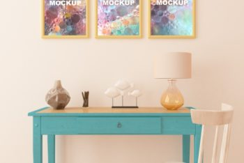 Free Cute Study Table Plus Picture Frames Mockup