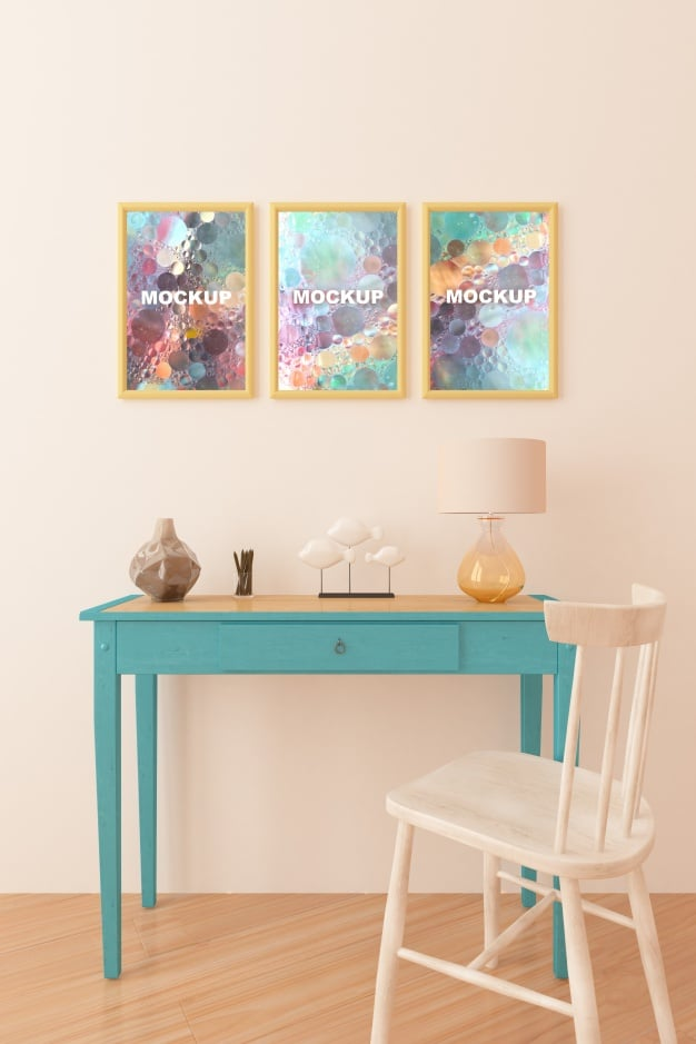 Cute Study Table Plus Picture Frames