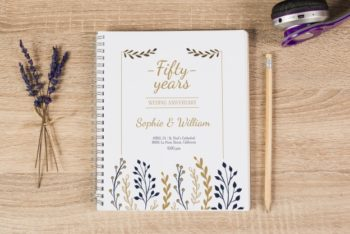 Free Golden Wedding Anniversary Notebook Mockup
