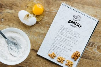 Free Recipe Notepad Plus Kitchen Baking Mockup