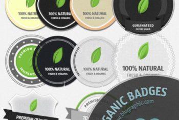 Free Organic Badge Design Mockup in PSD