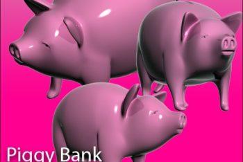Free Cute 3D Piggy Bank Design Mockup in PSD