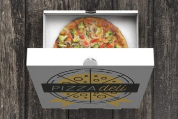 Free Open Veggie Pizza Box Mockup in PSD