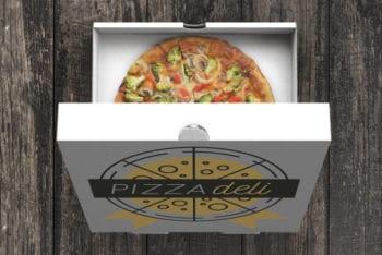 Free Open Veggie Pizza Box Mockup in PSD