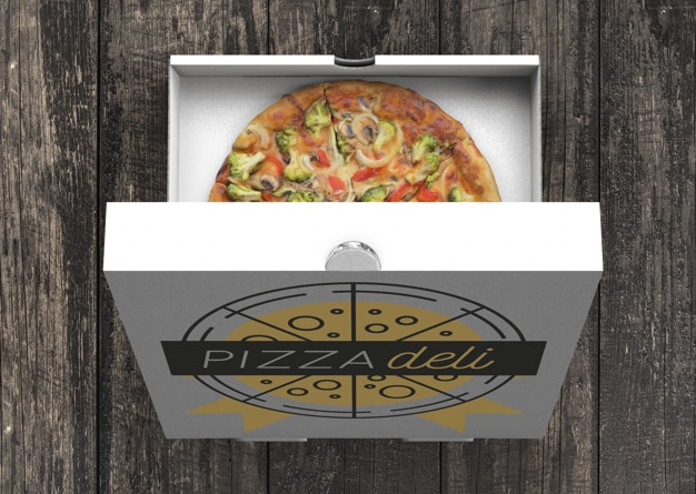 Open Veggie Pizza Box