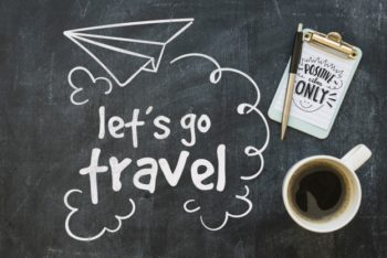 Free Chalkboard Travel Concept Plus Coffee Mockup