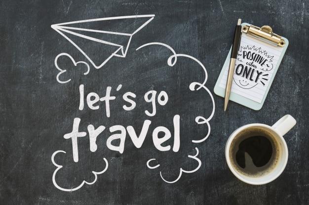 Chalkboard Travel Concept Plus Coffee