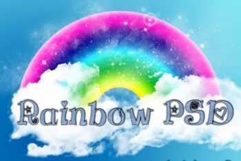 Free Cute Rainbow Design Mockup in PSD